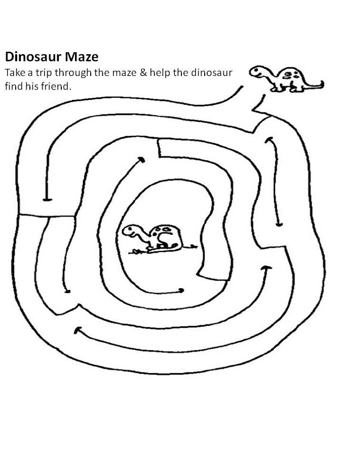 simple mazes for kids dinosaur
