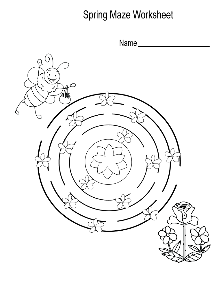 simple mazes for kids spring