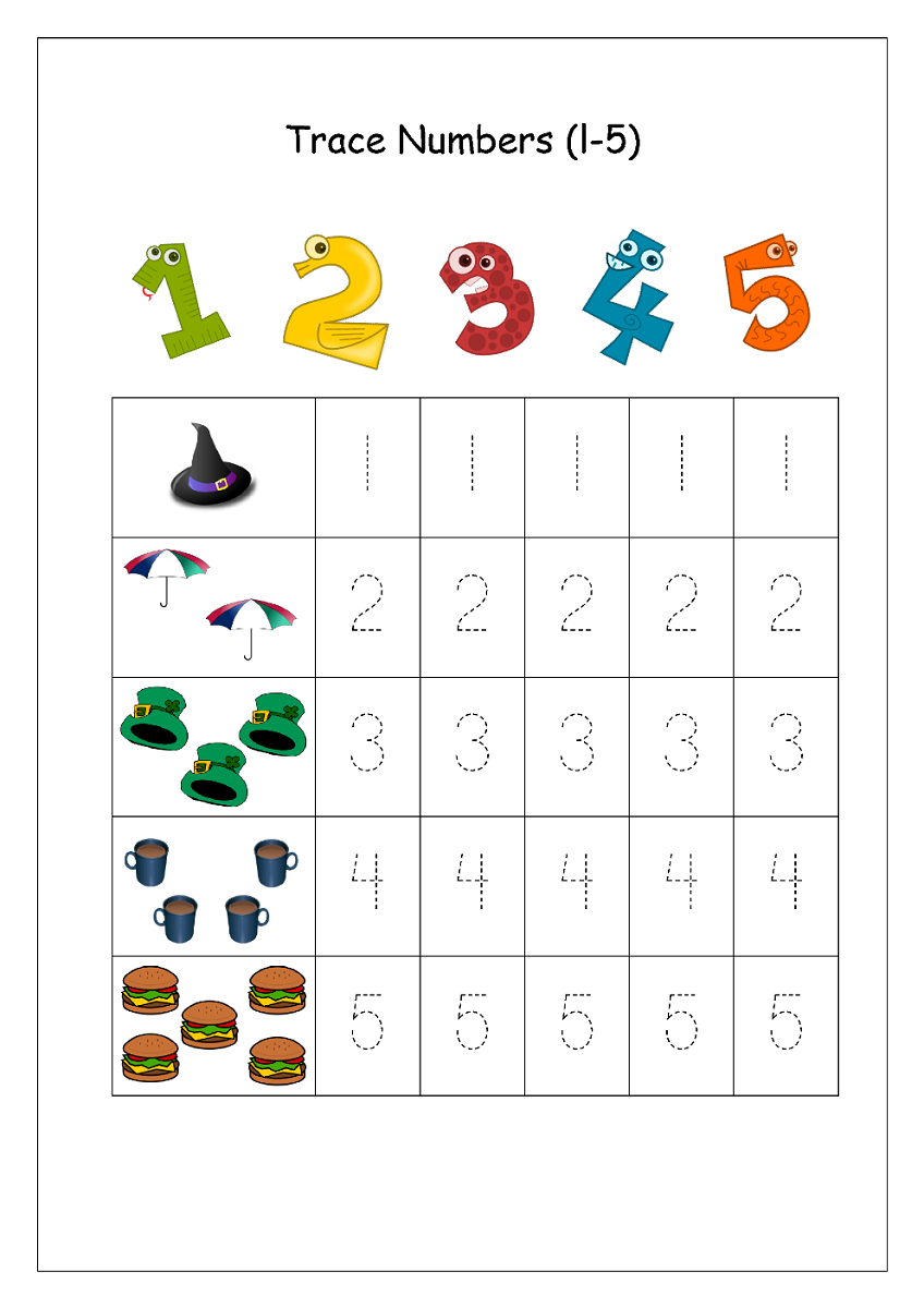trace number worksheets 1-5