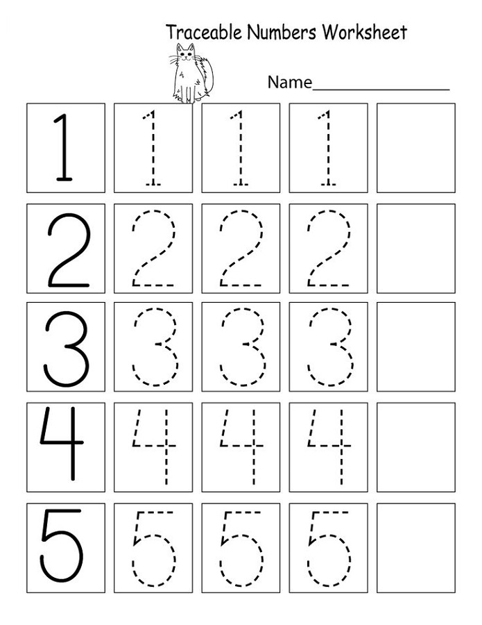 trace number worksheets preschool