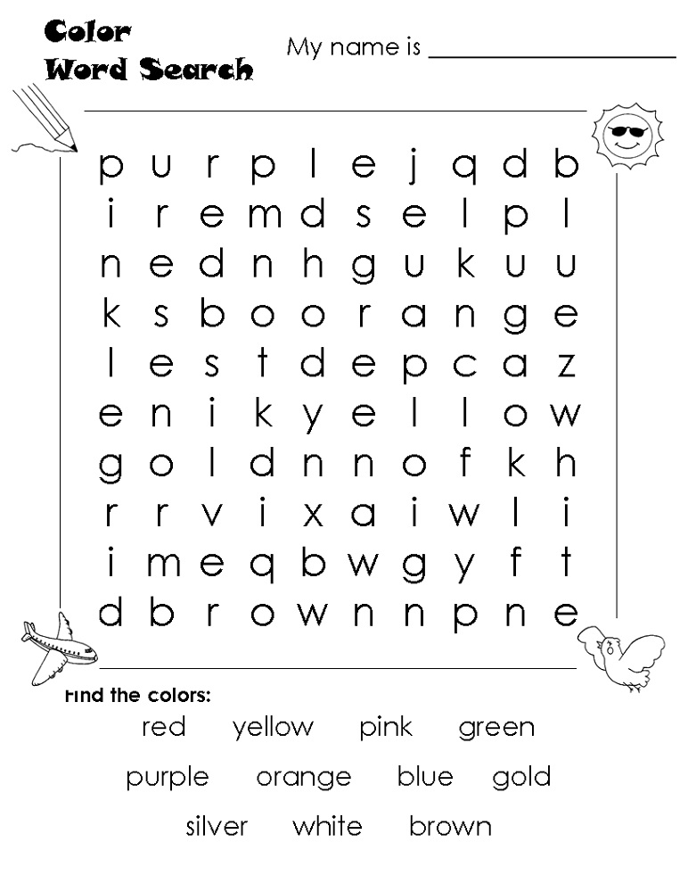 word search worksheets color