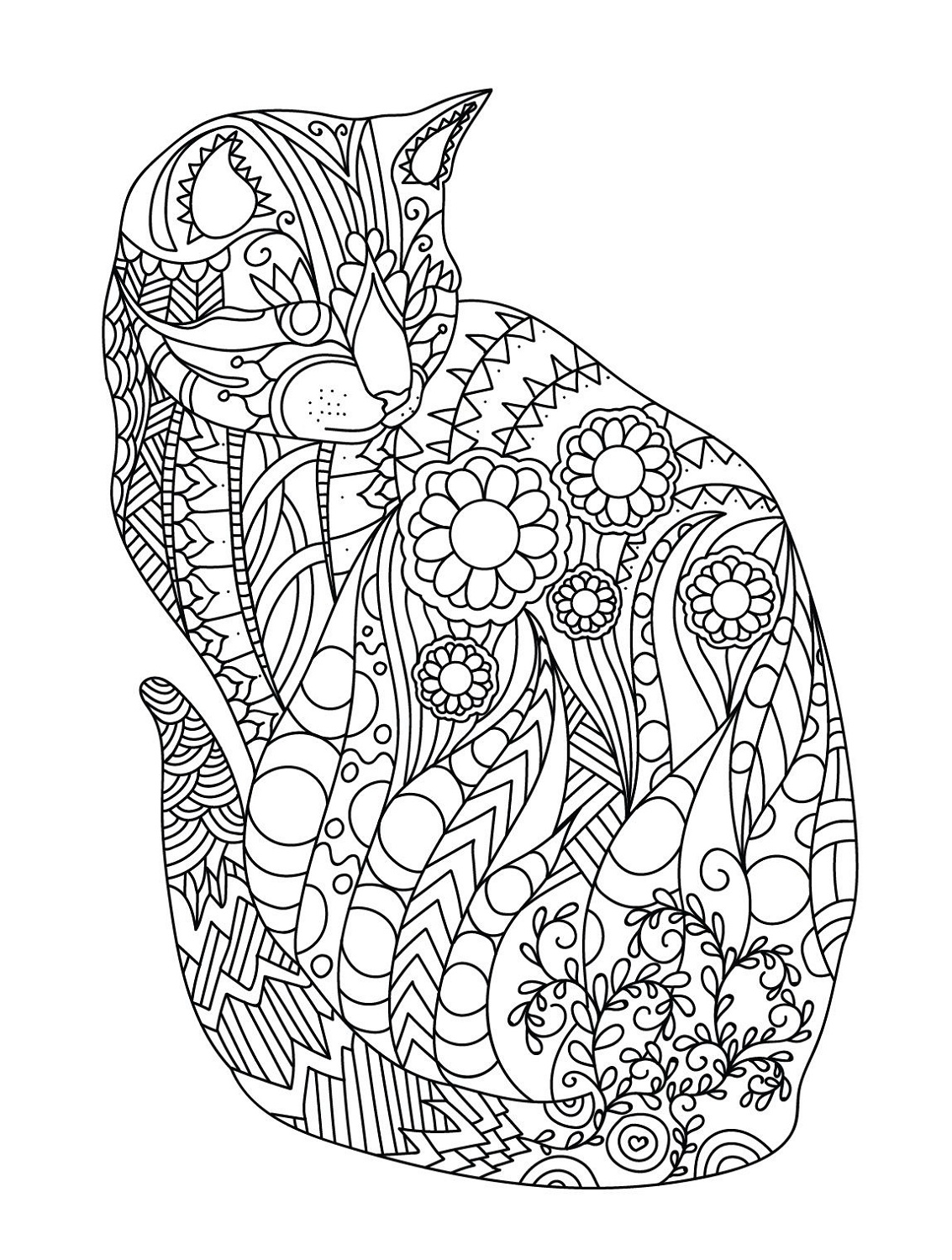 adult coloring books cat
