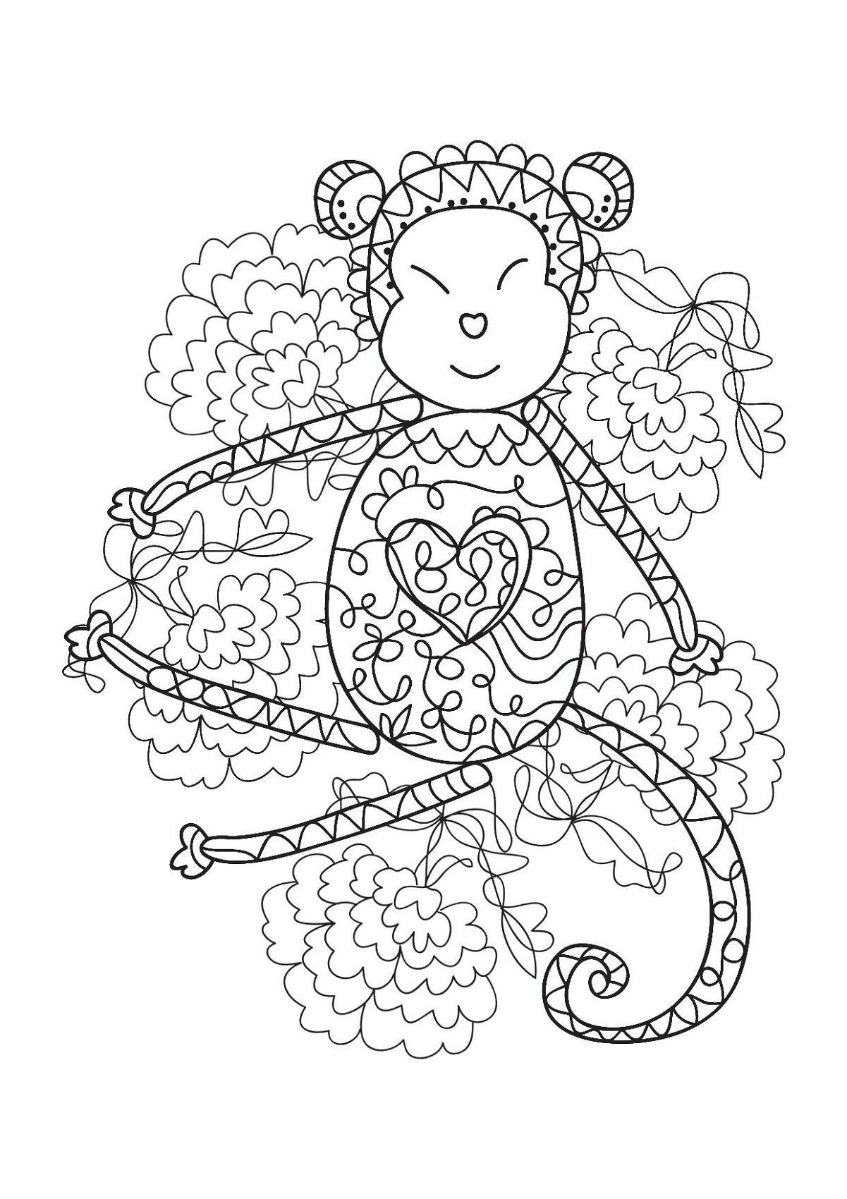 adult coloring books monkey