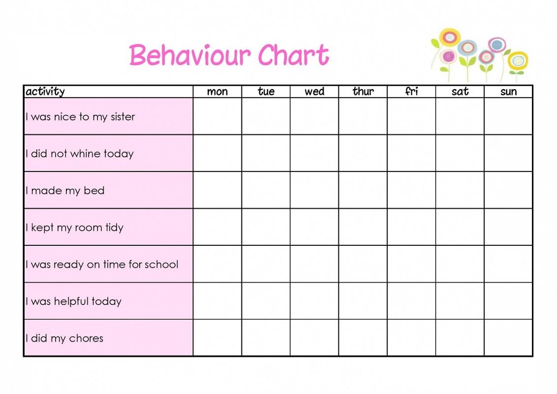 behavior reward chart goods pink
