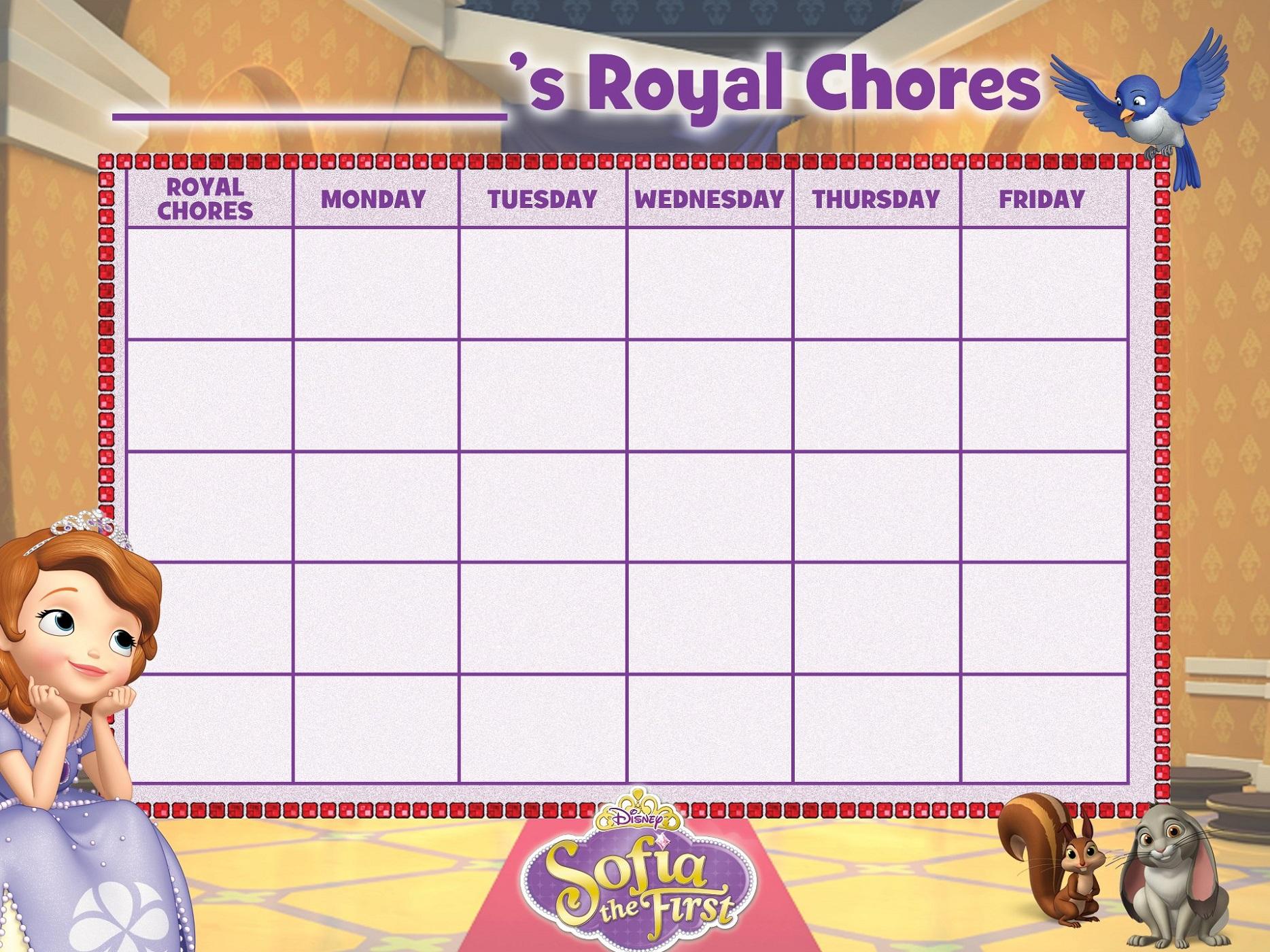 chore reward chart sofia