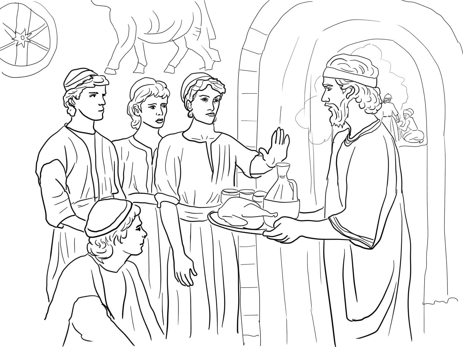 coloring bible daniel makes good choices and refuses king's