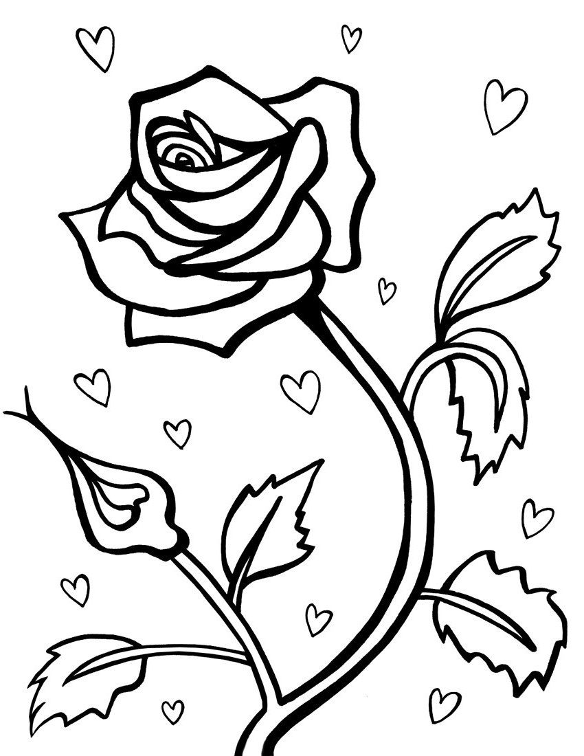 flower coloring pages Rose flower
