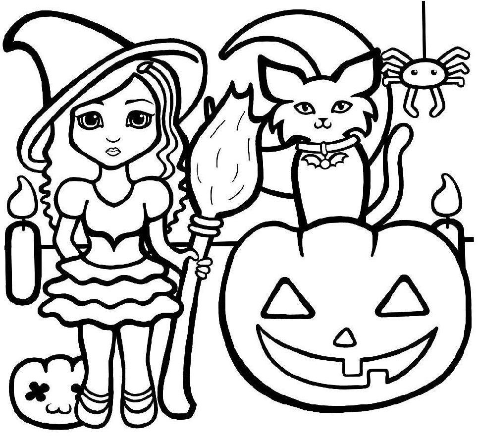 halloween coloring pages printable halloween pumpkin and cat