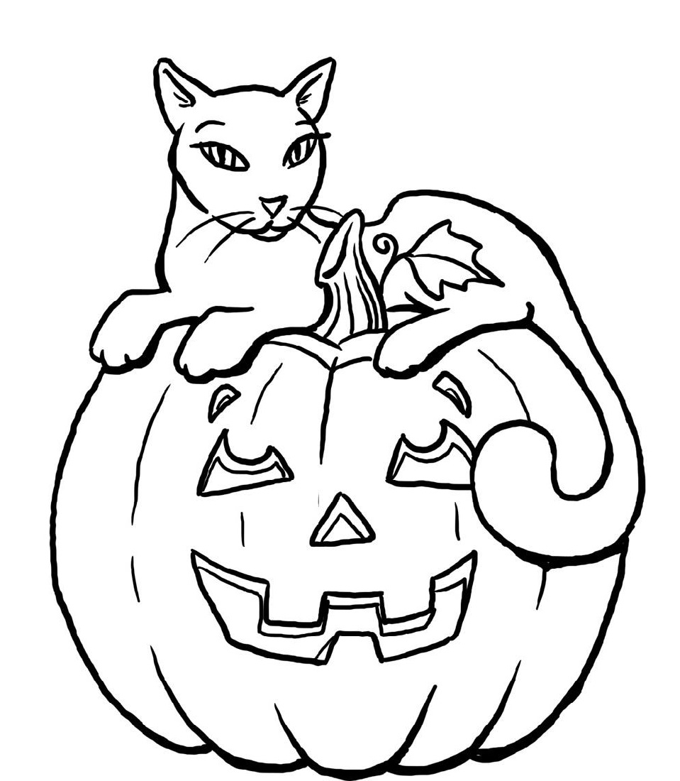 halloween coloring pages printable pumpkin halloween black cat