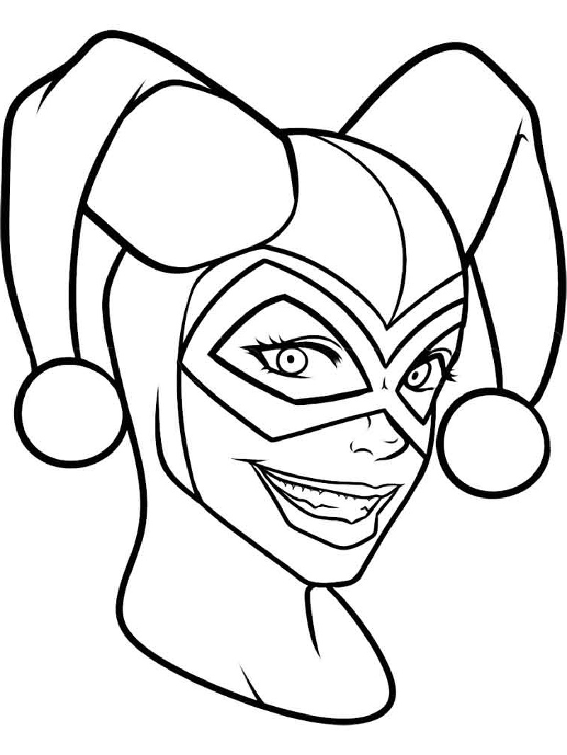 harley quinn coloring pages face herley quinn