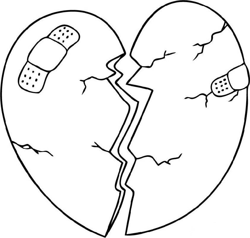 heart coloring pages broken heart
