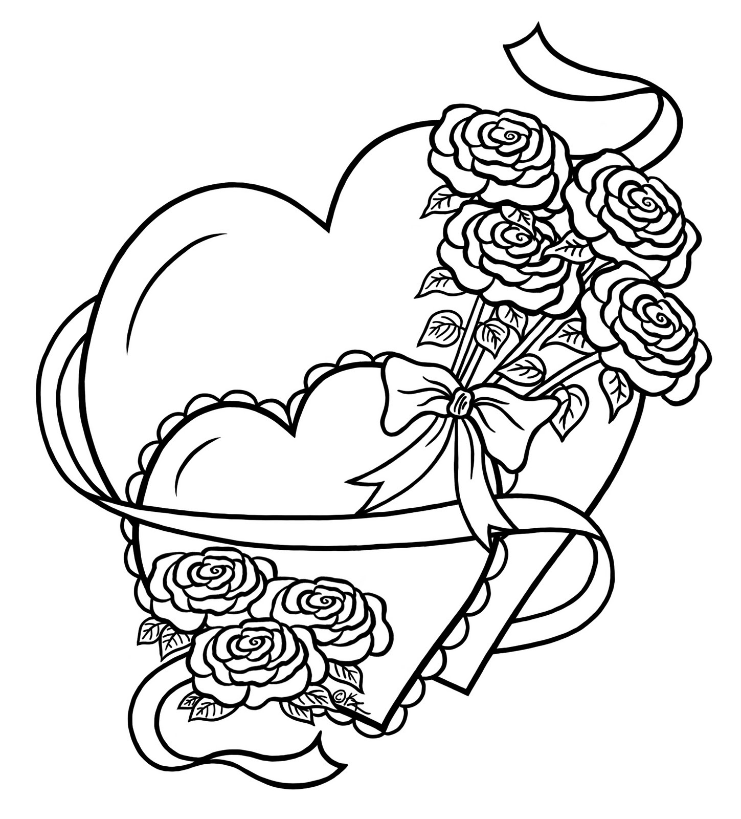 heart coloring pages heart and rose