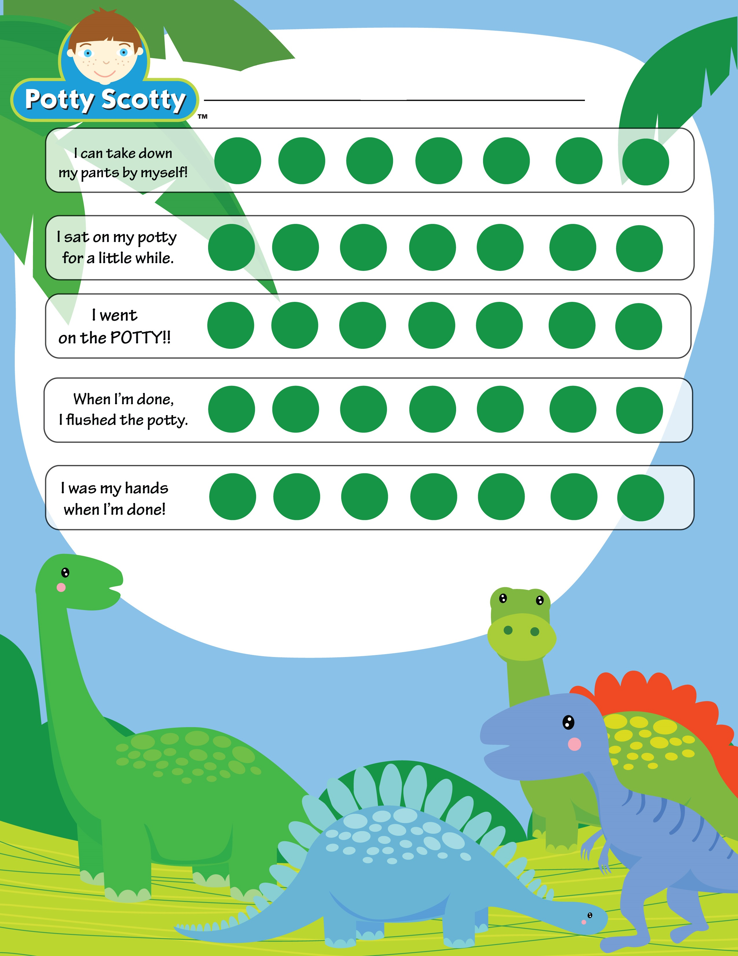 potty training reward chart animals