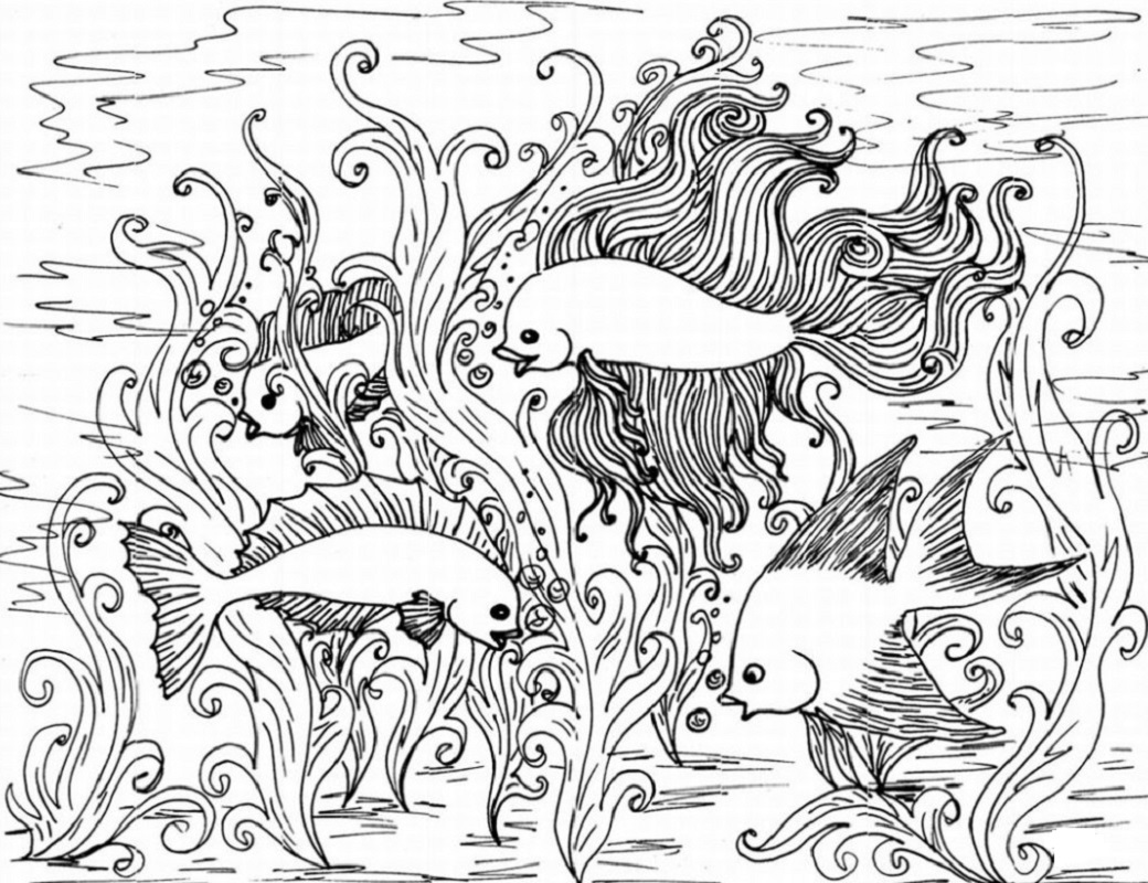 printable coloring pages for adults fish in the aquarium
