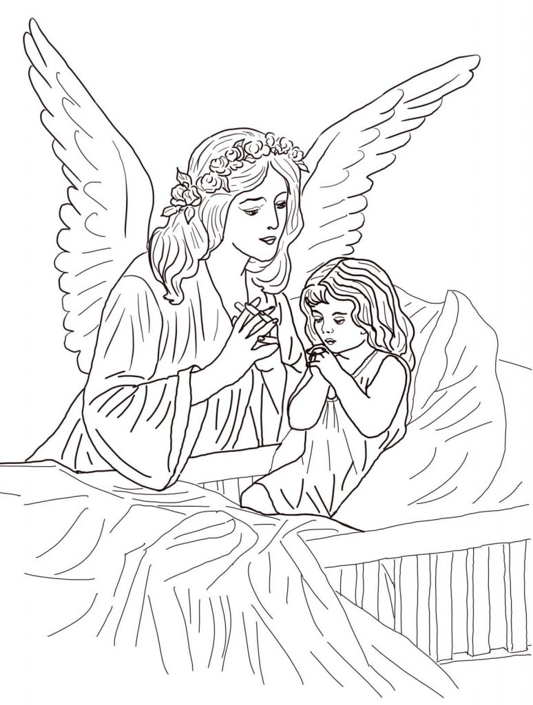 picture relating to Guardian Angel Prayer Printable named printable coloring web pages for grown ups mother or father angel prayer