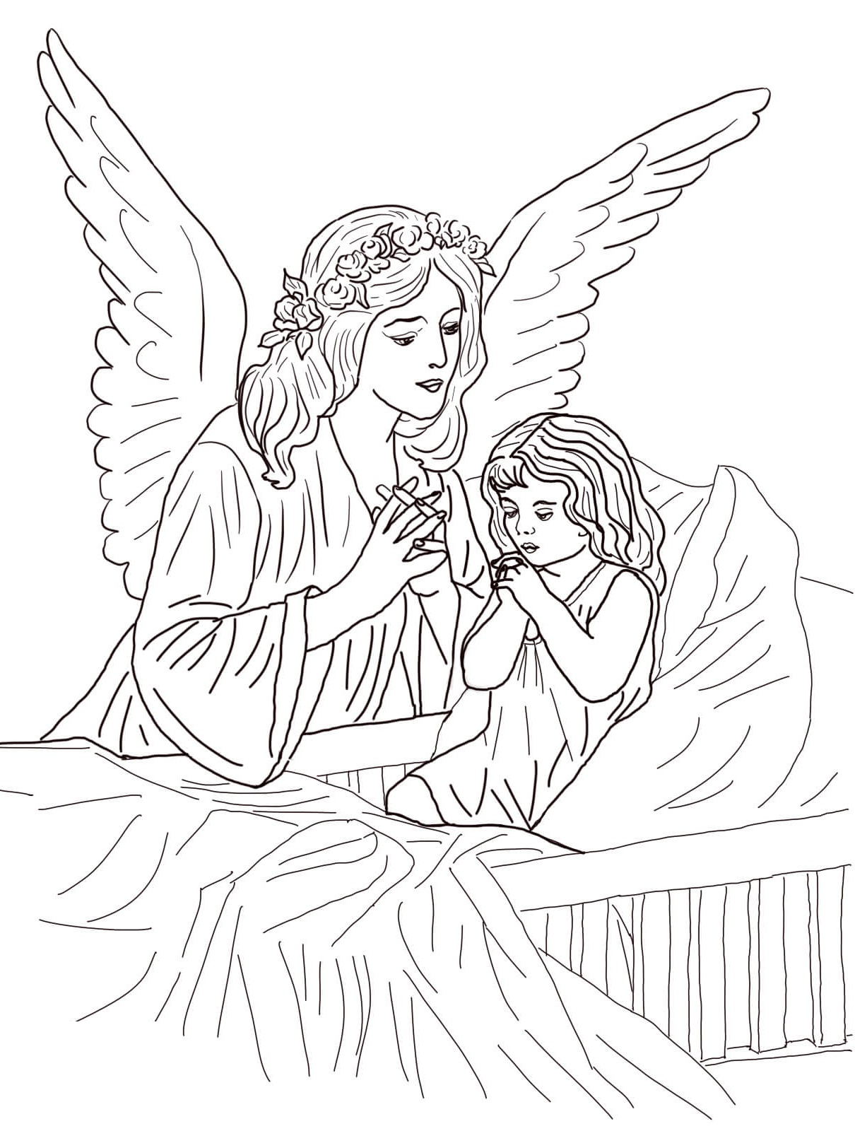 printable coloring pages for adults guardian angel prayer