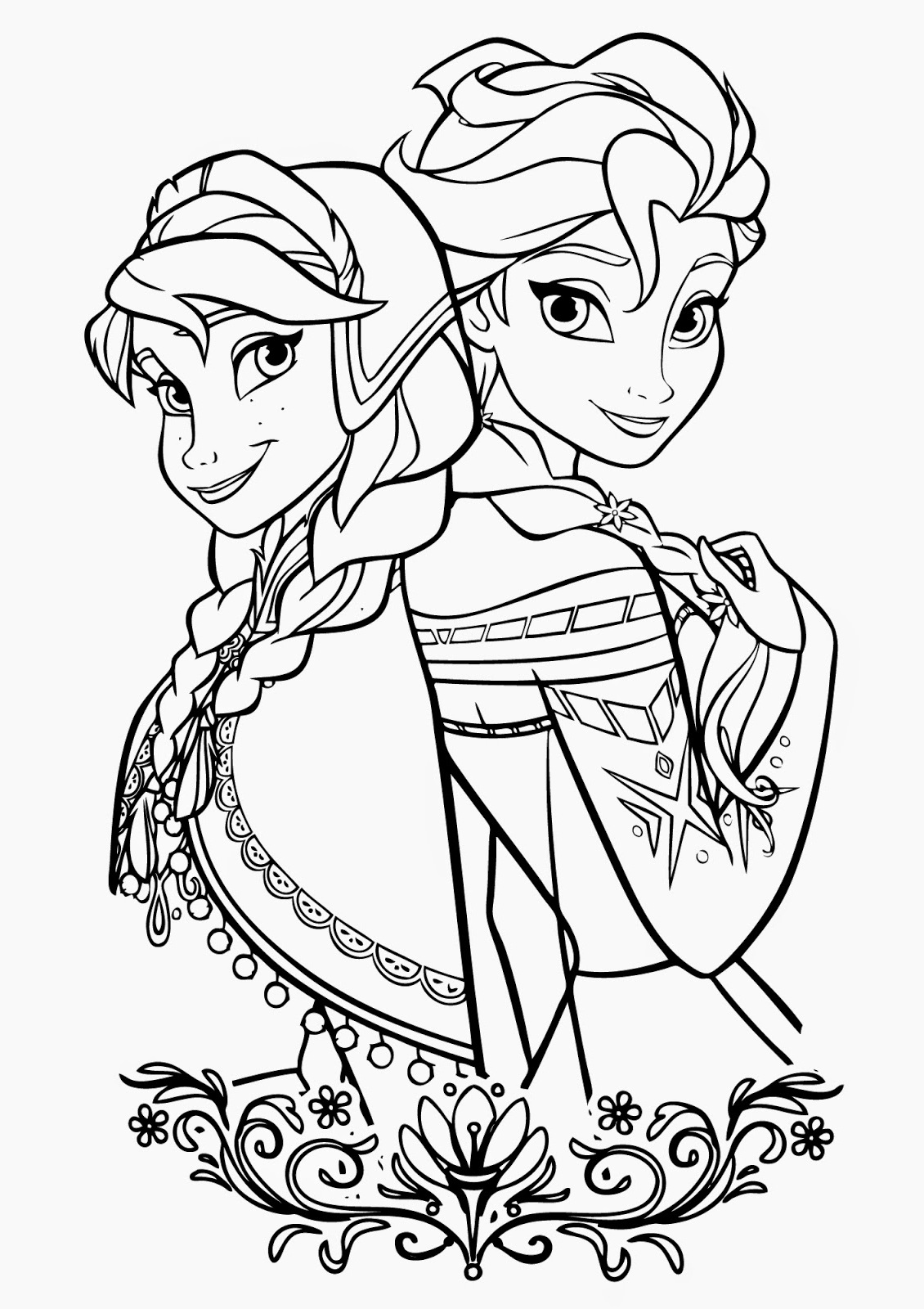 printable coloring pages for kids elsa and ana frozen