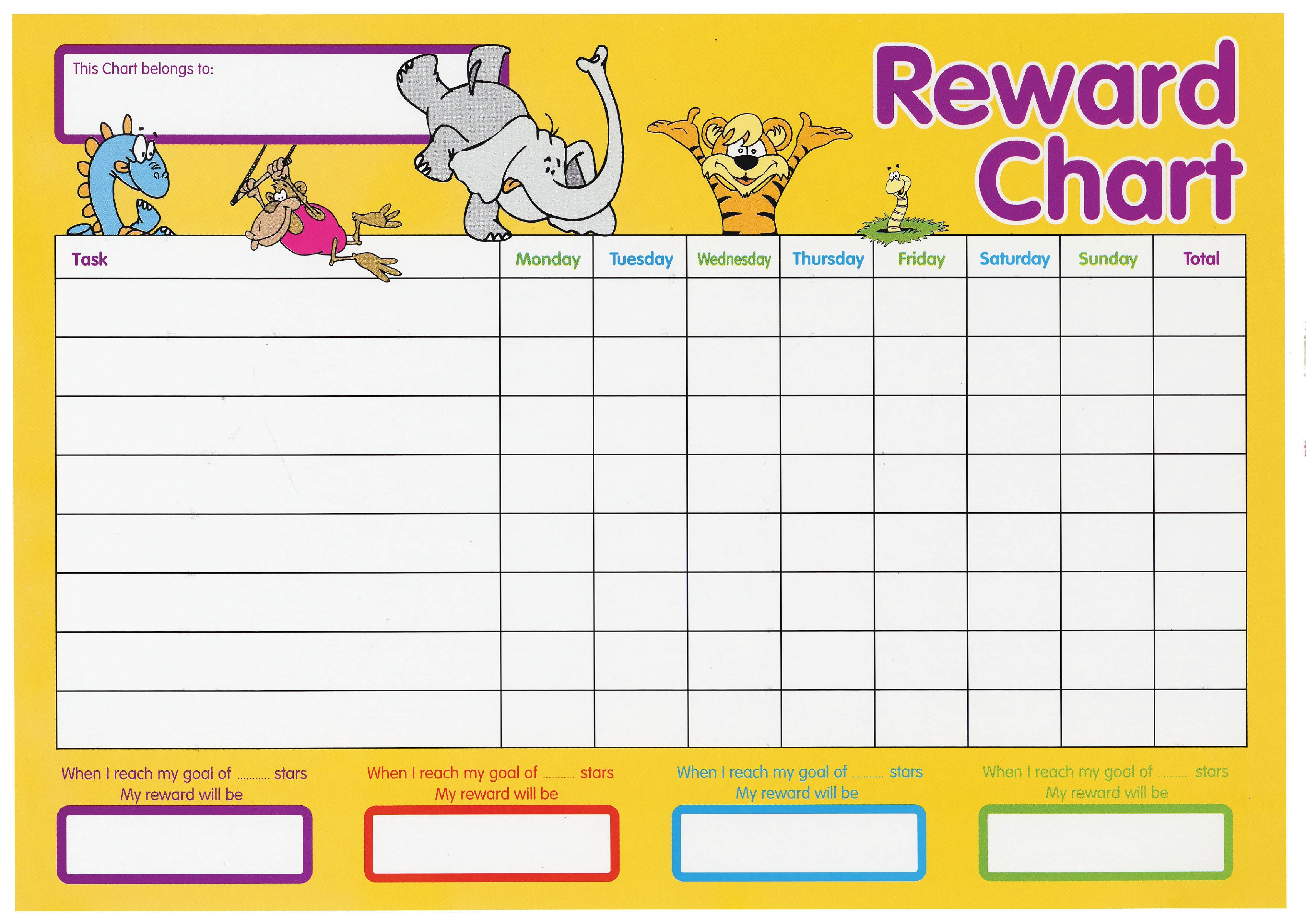printable reward chart animal