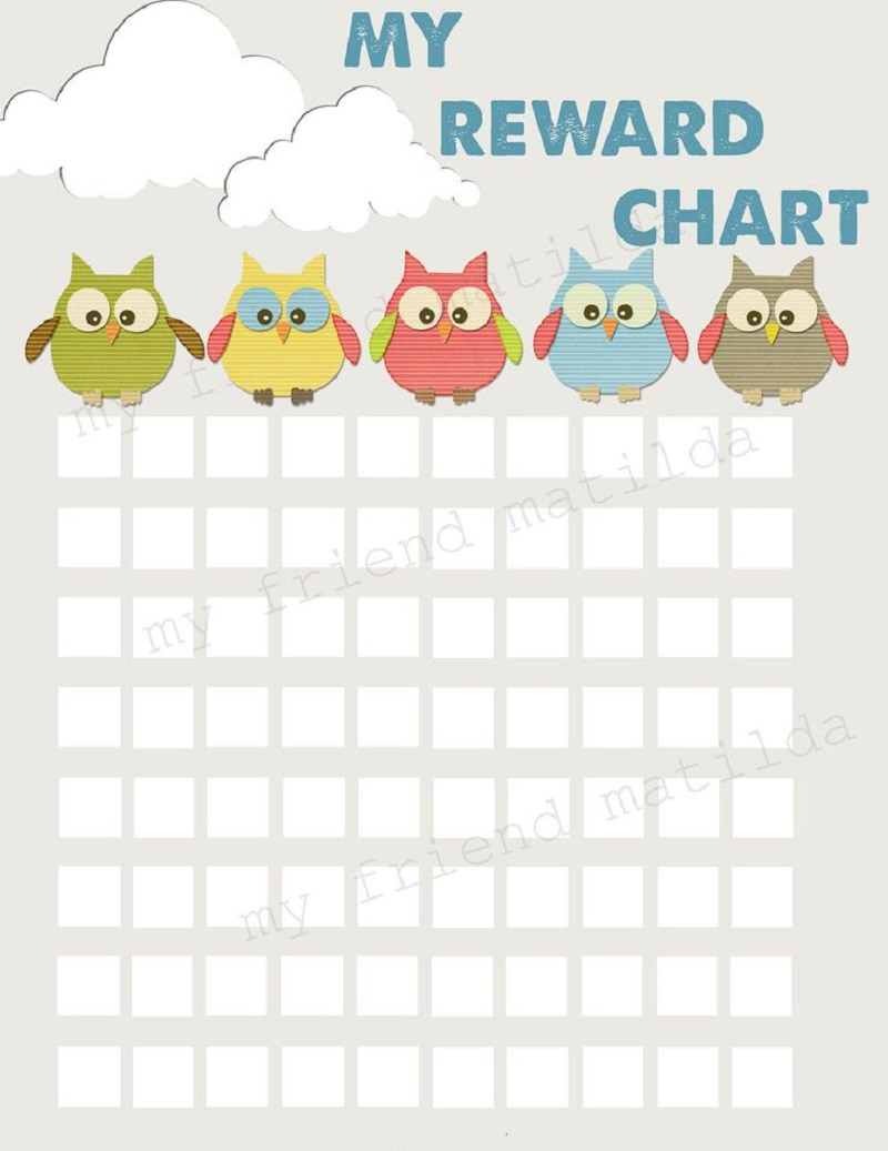 printable reward chart owl
