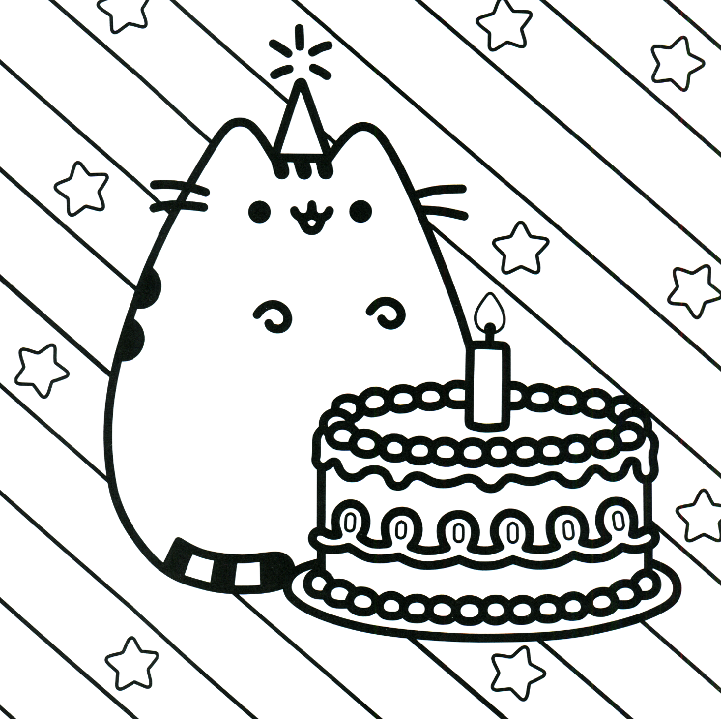 pusheen coloring pages brithday