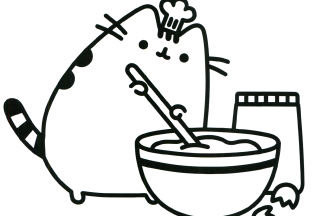 pusheen coloring pages the cat cooking