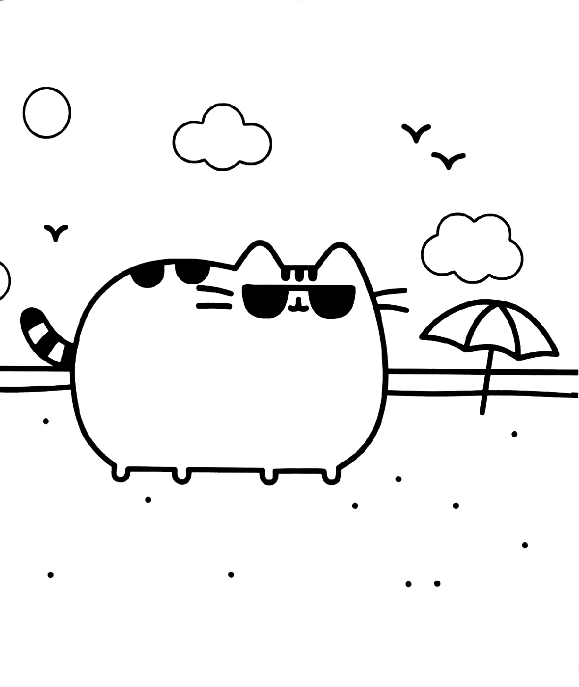 pusheen coloring pages the cat players