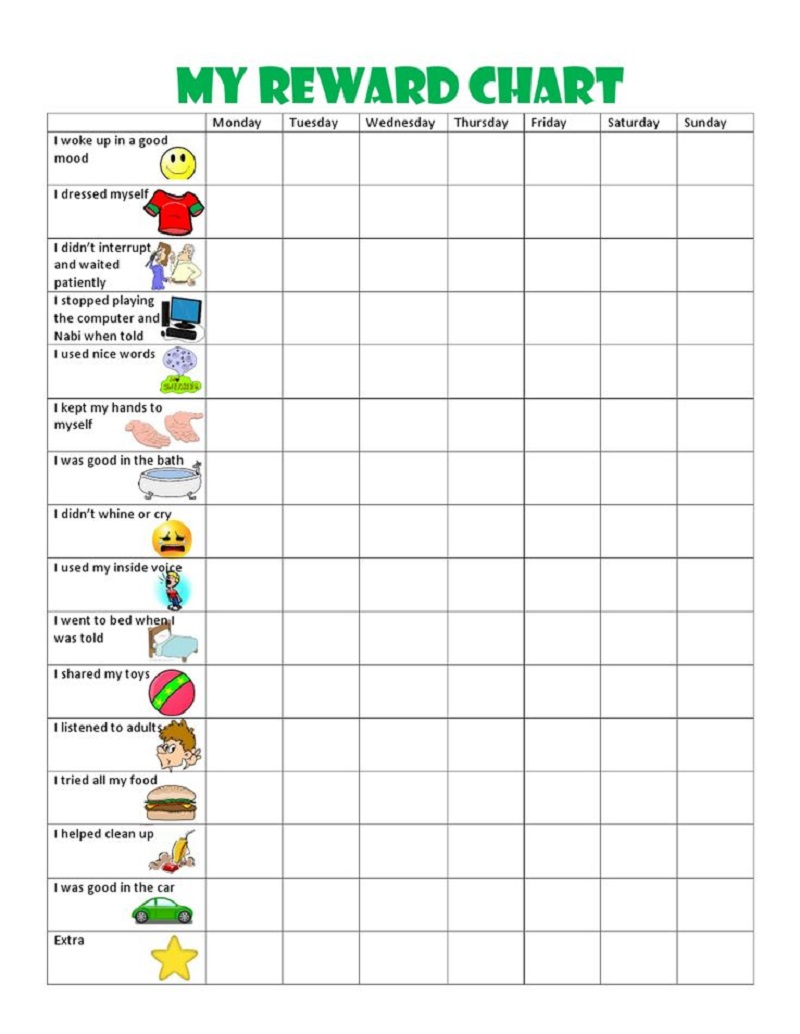 reward chart ideas activity