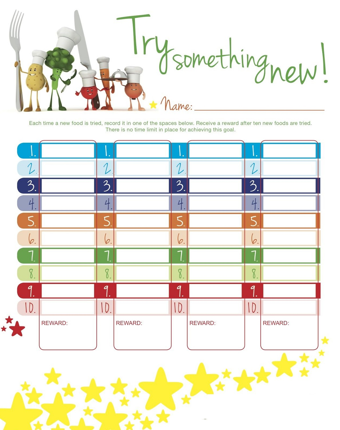 reward chart ideas vegetable