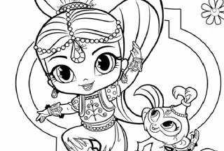 shimmer and shine coloring pages shimmer and cat