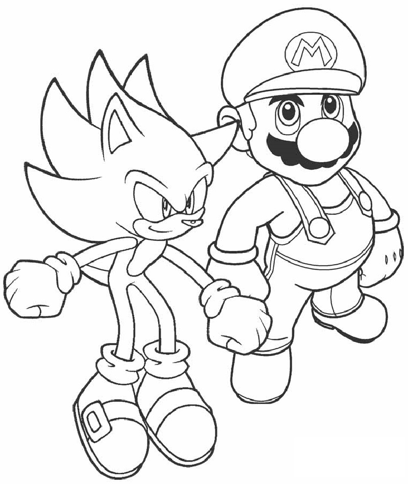 sonic coloring pages mario and sonic