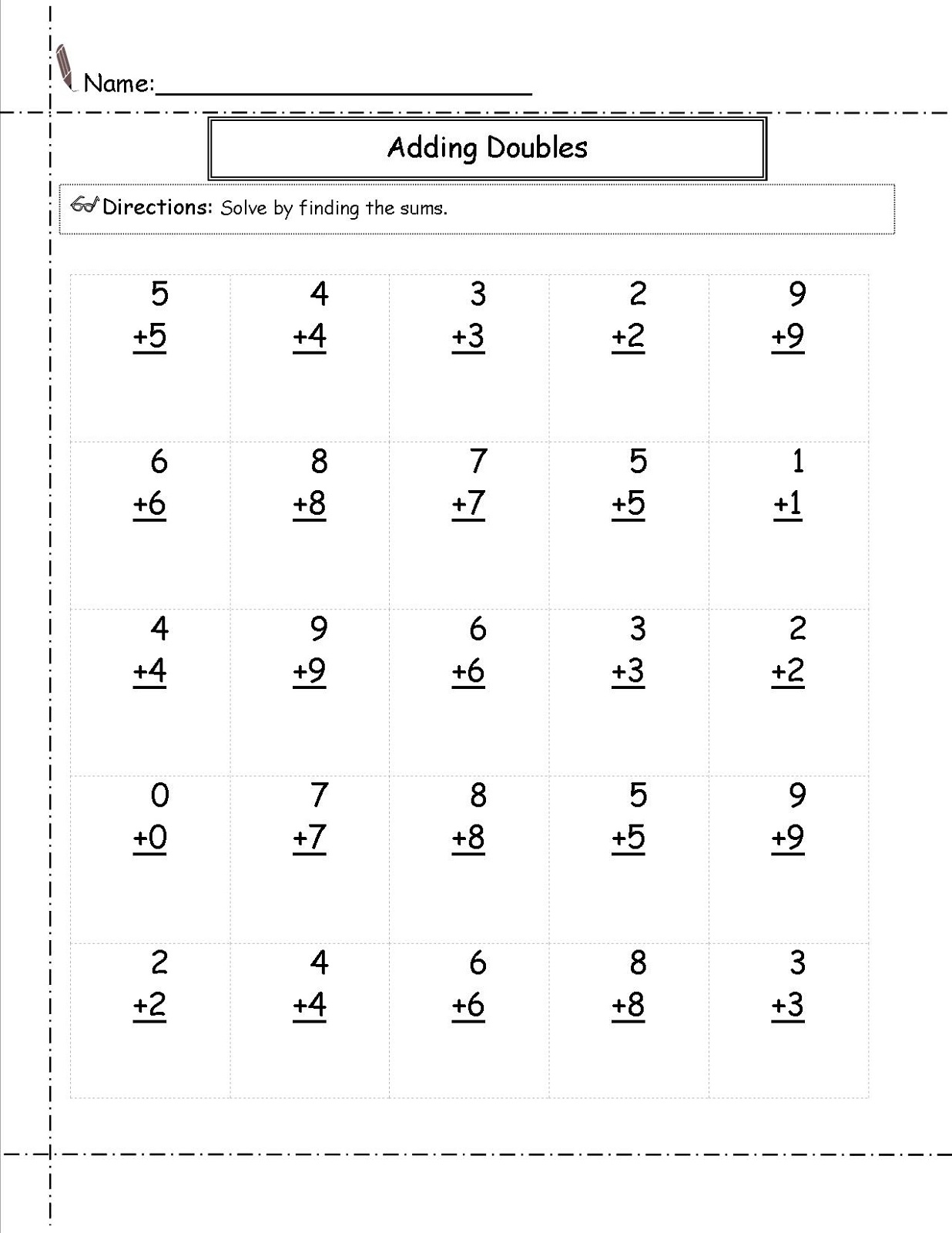 Addition worksheets adding doubles