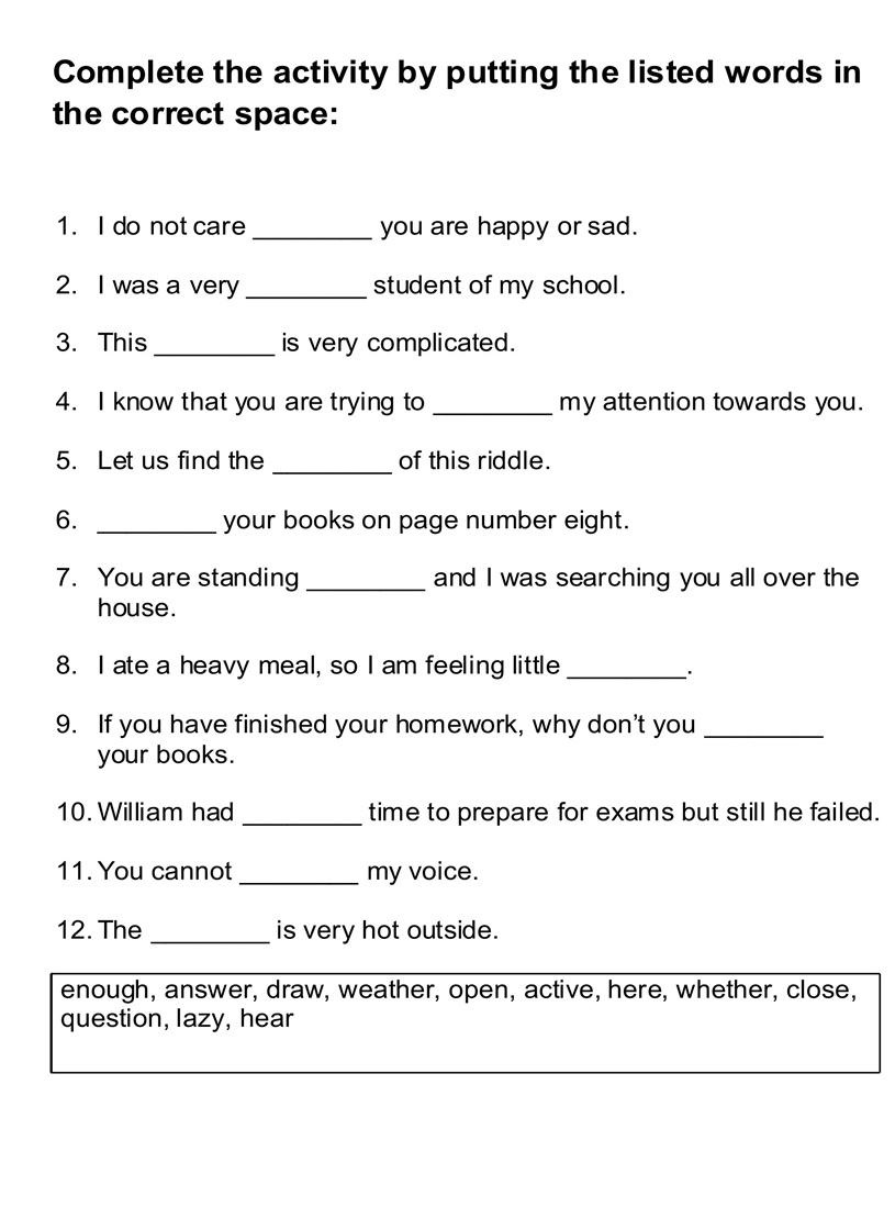English worksheets activity