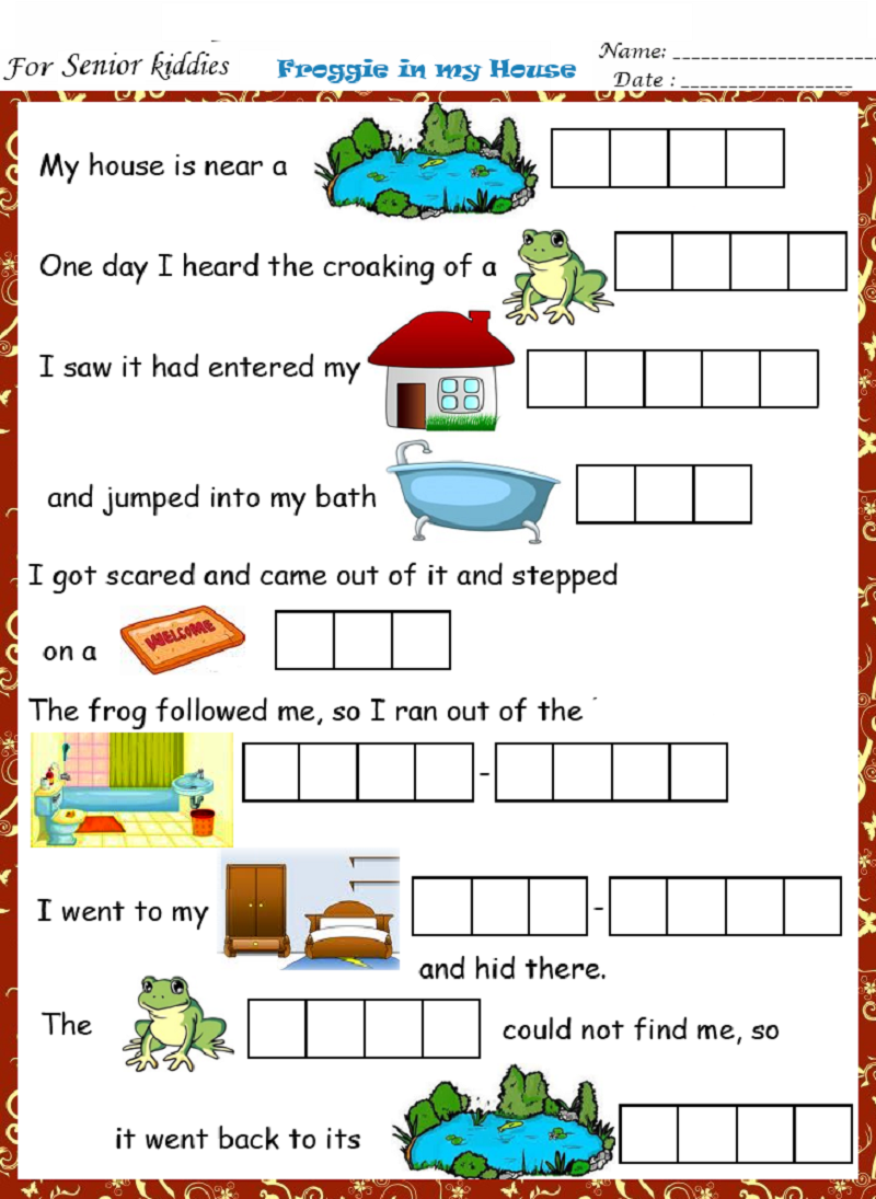 English worksheets froggie in my house