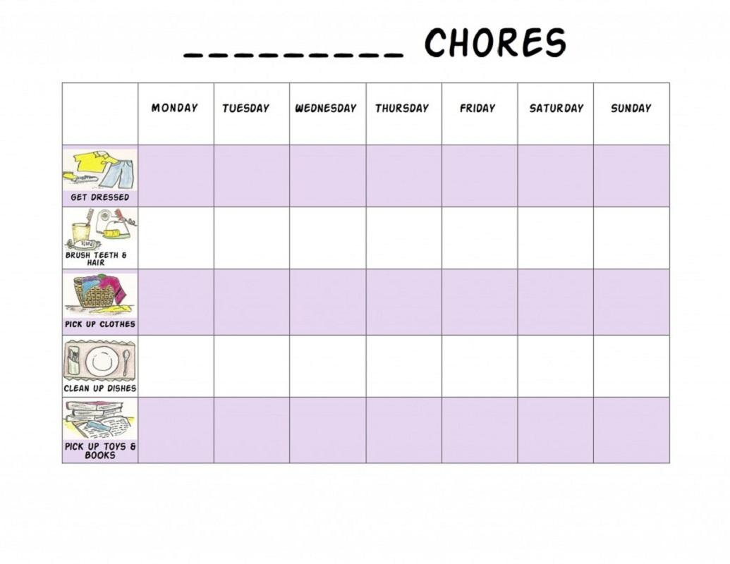preschool reward chart activity chores