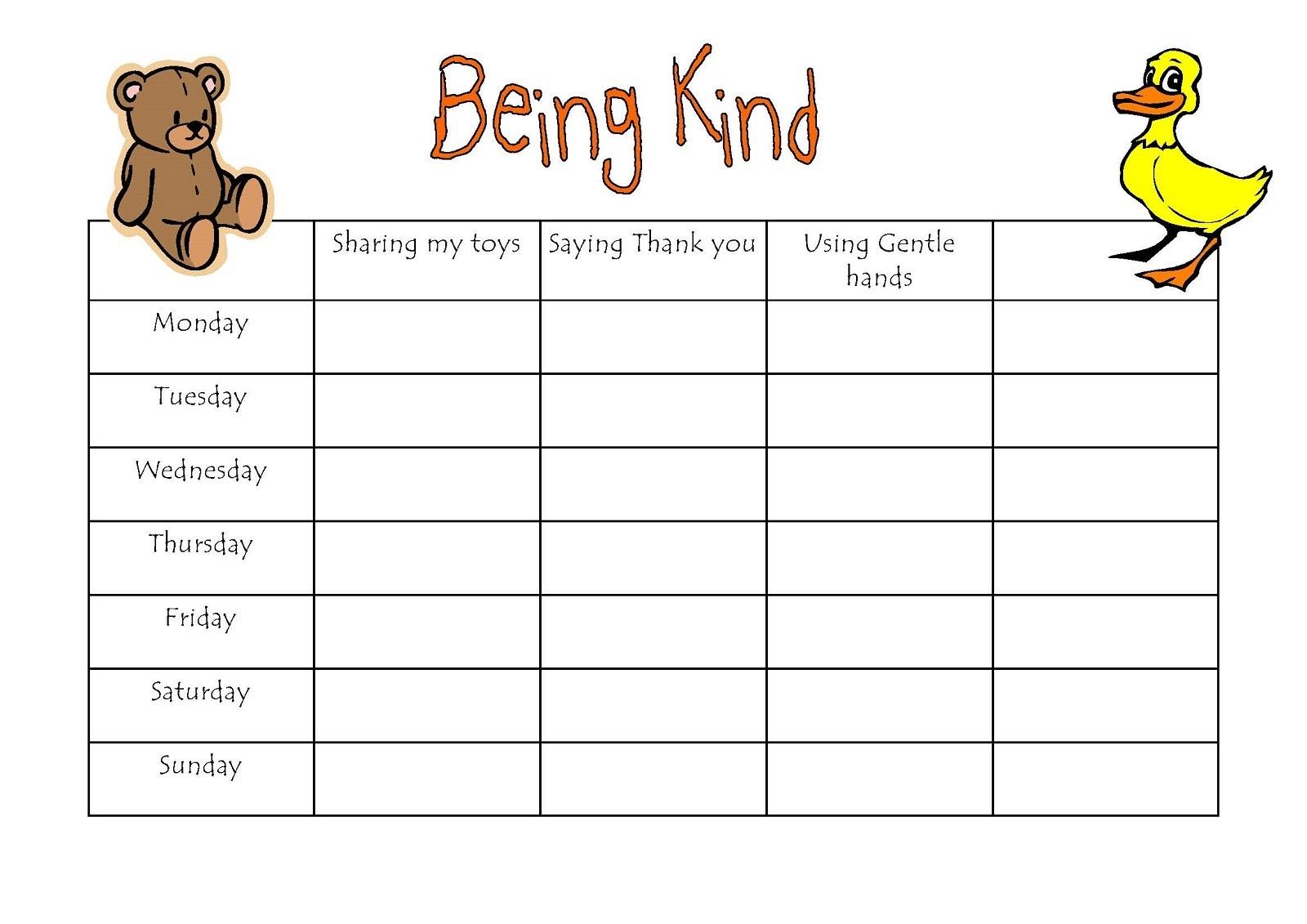 preschool reward chart bear and duck daily