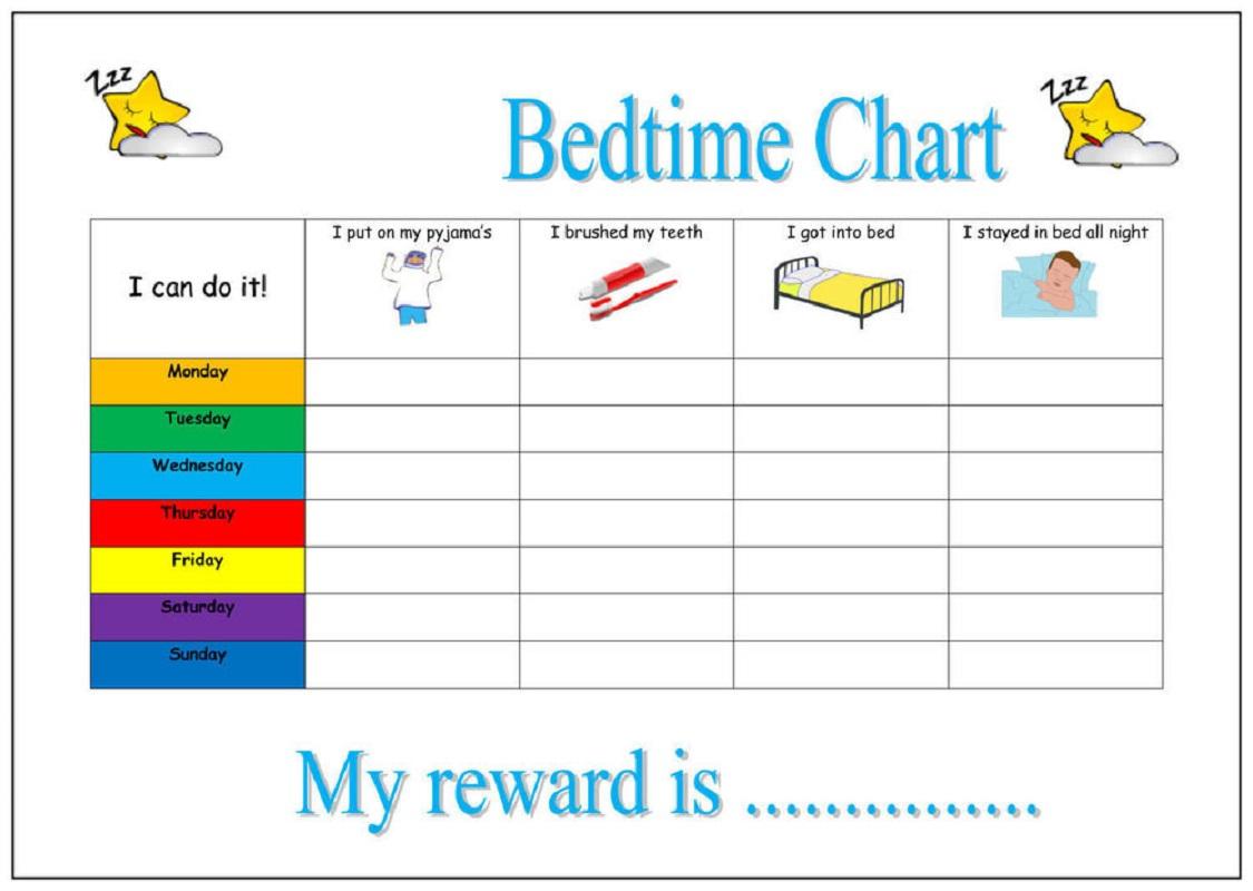 preschool reward chart bedtime chart