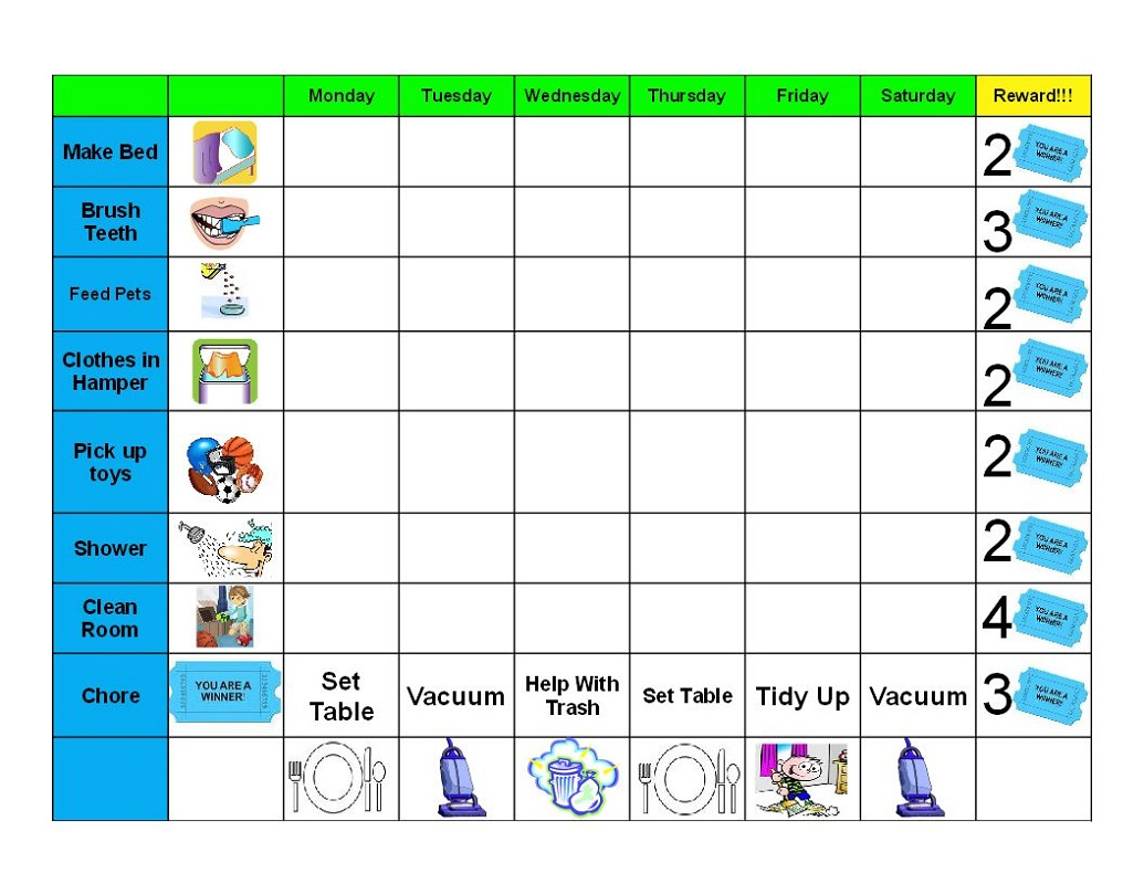 reward chart for 5 year old activity