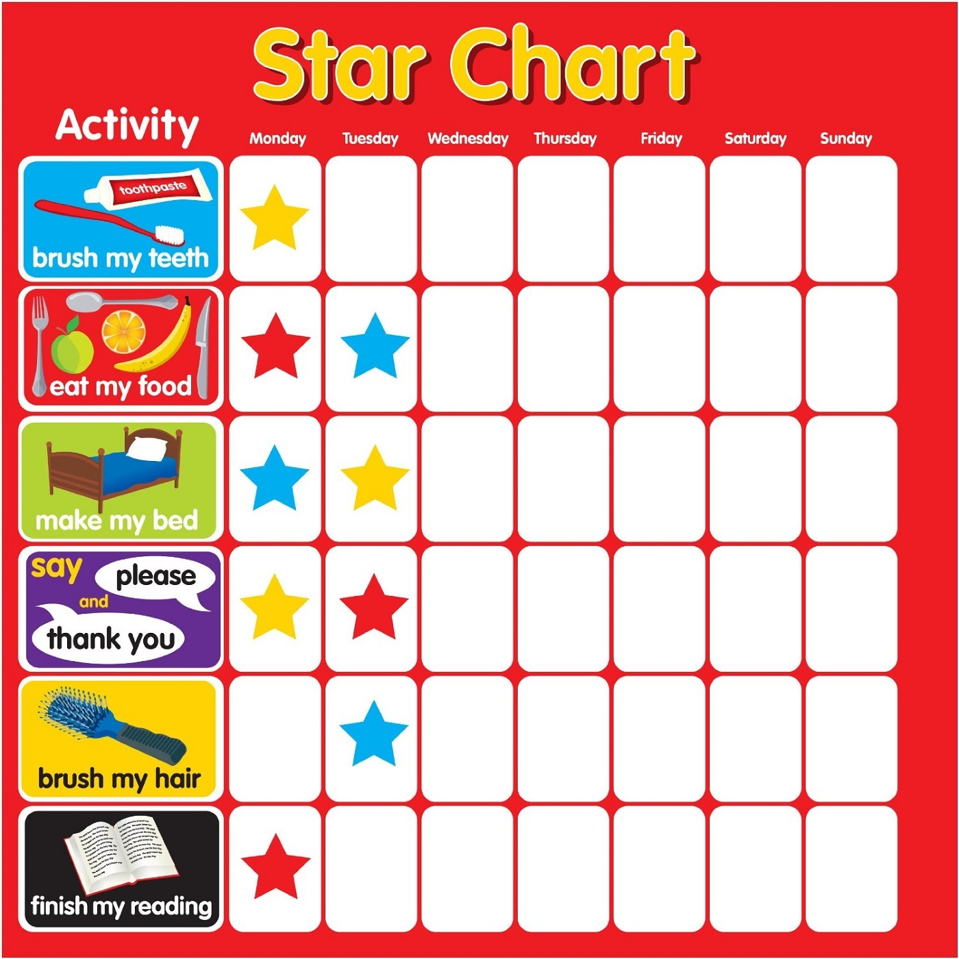 reward chart for 5 year old kiddy star