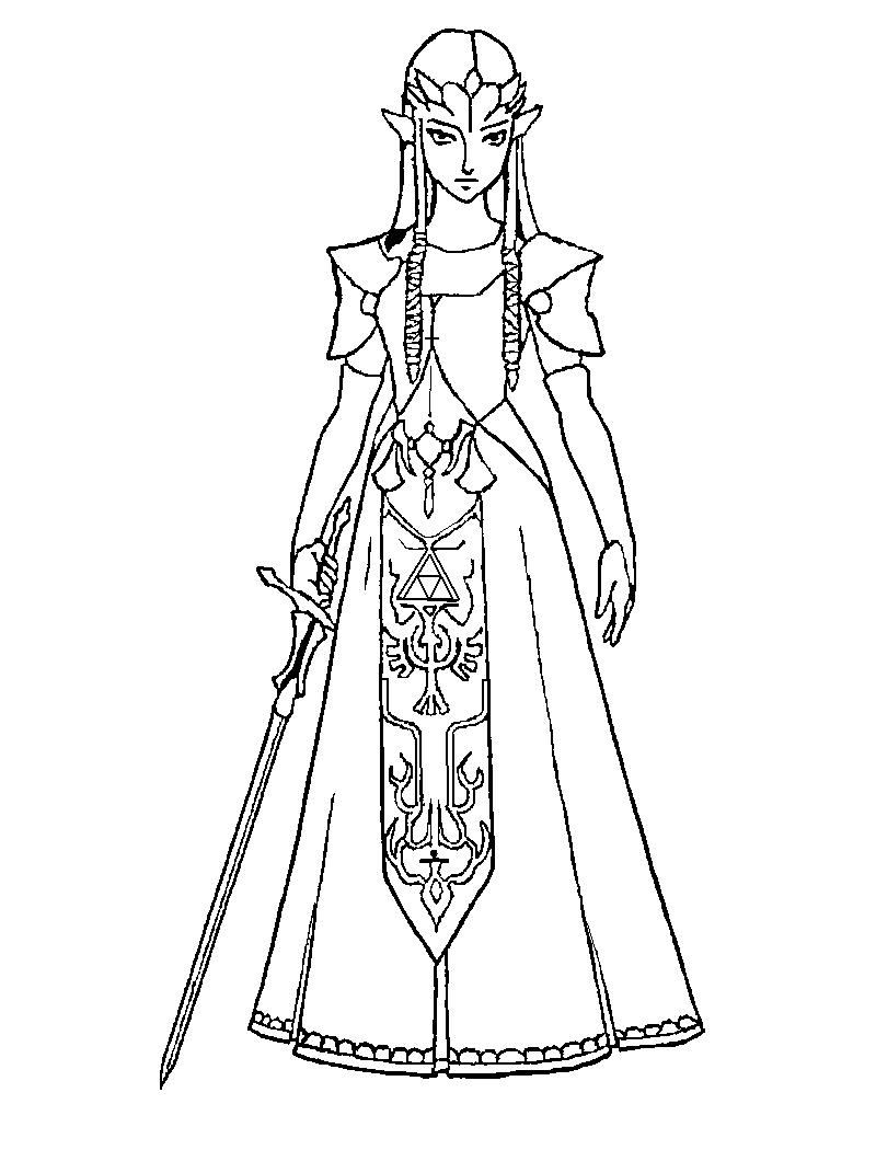 zelda coloring pages princess zelda