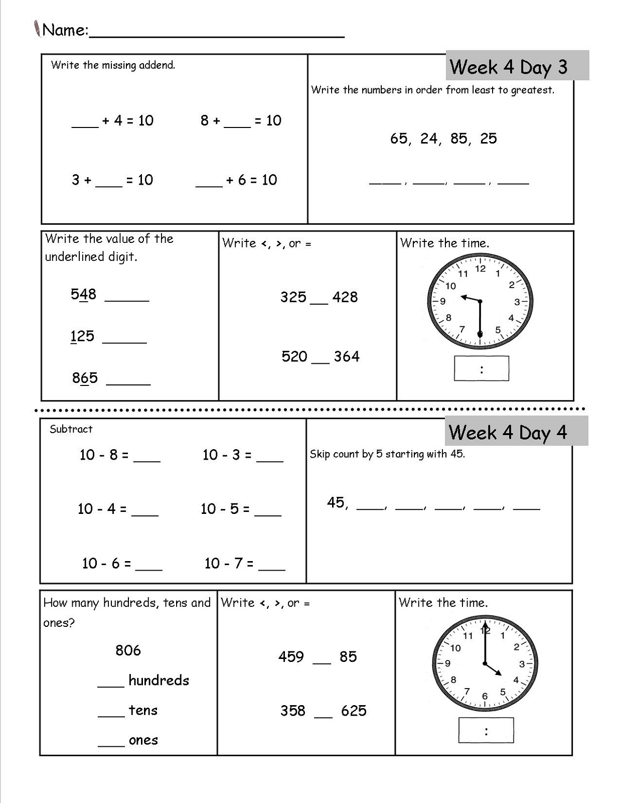 2nd grade worksheets 3