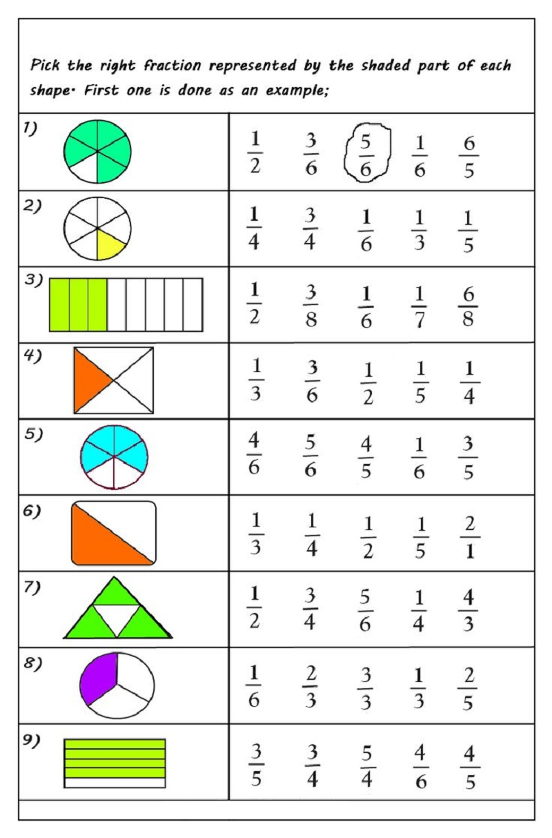 Fractions worksheets multiple choice