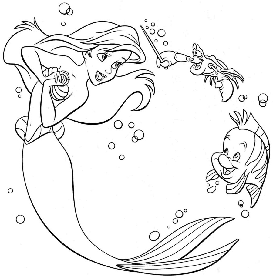 Little mermaid coloring pages mermaid and friend