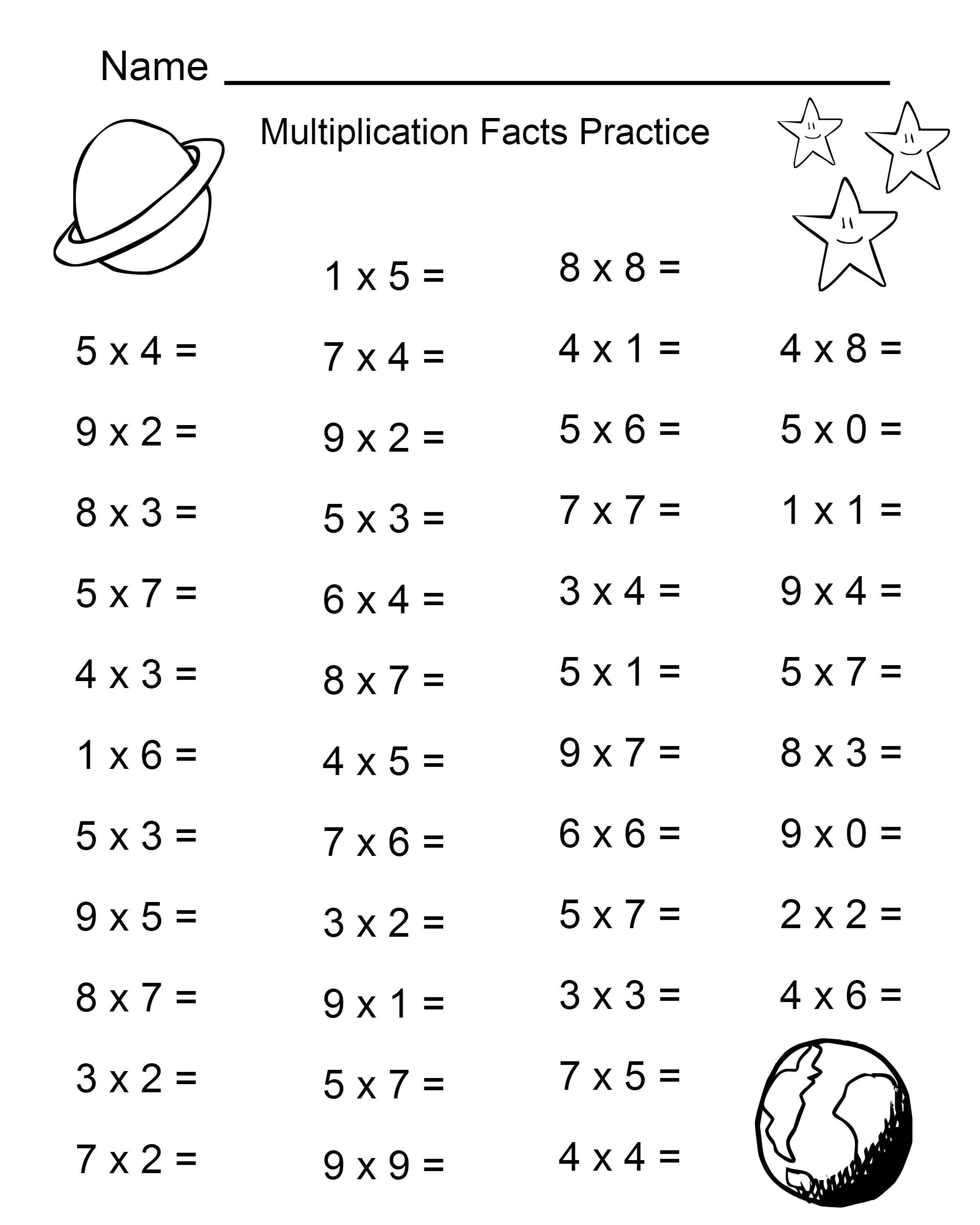 Multiplication worksheets facts pratice