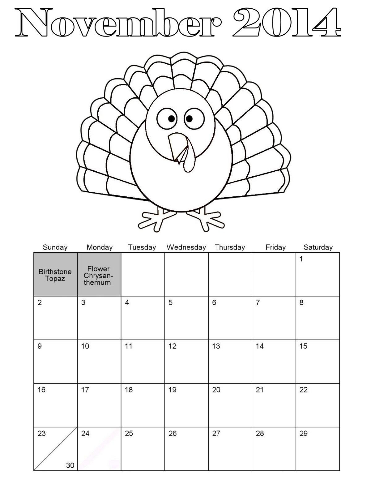 November coloring sheets four