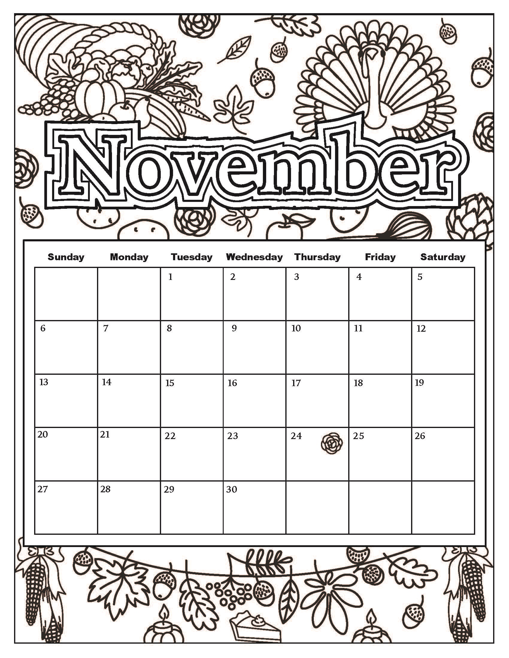 November coloring sheets three