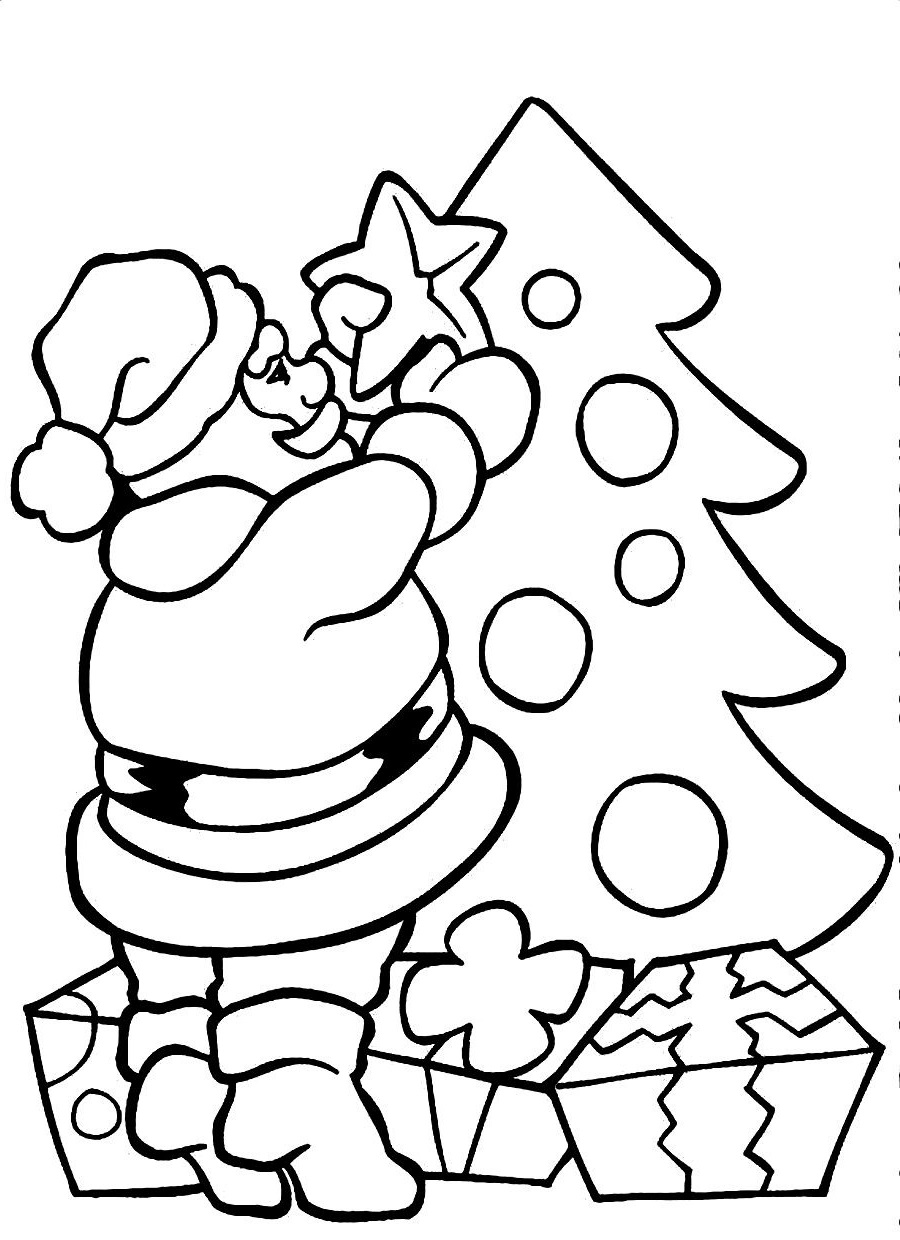 Santa-coloring-pages-christmas-tree
