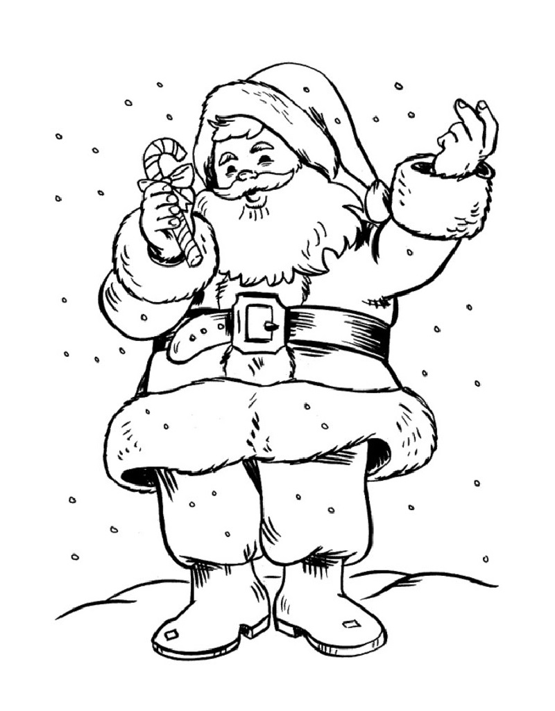 Santa coloring pages happy
