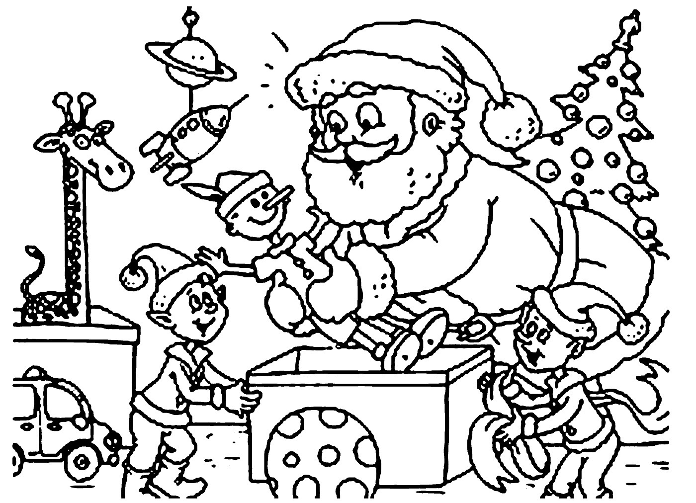 Santa coloring pages playing with child