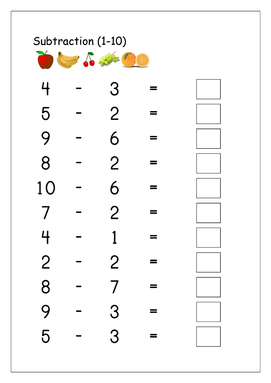 Subtraction worksheets fruits