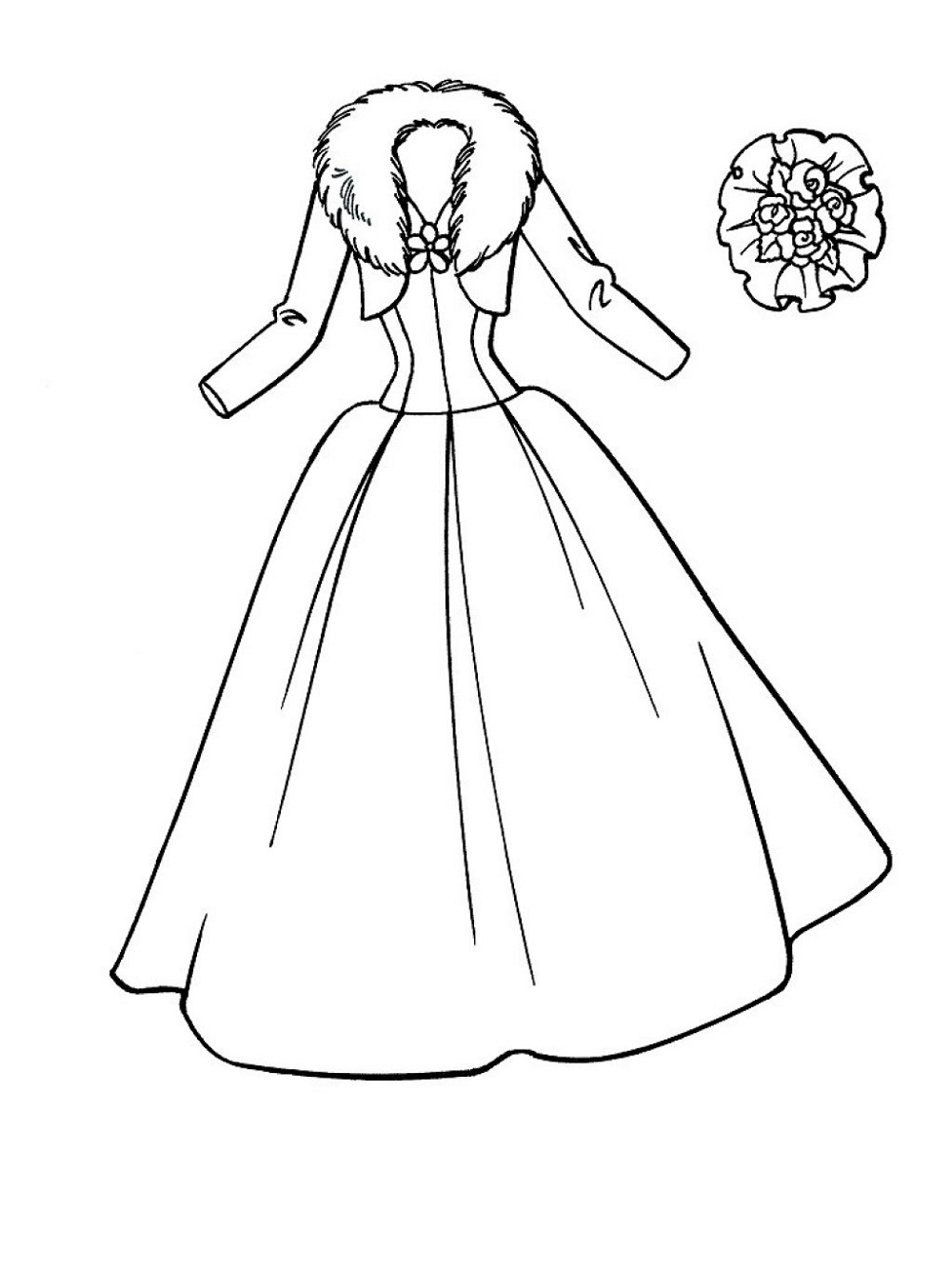 Wedding dress coloring pages four